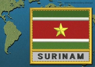This Flag of Suriname Text with a Gold border design was digitized and embroidered by www.embroidery.design.