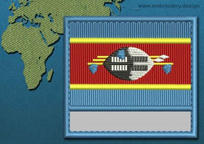 This Flag of Swaziland Customizable Text  with a Colour Coded border design was digitized and embroidered by www.embroidery.design.