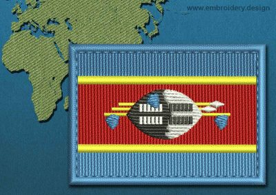 This Flag of Swaziland Rectangle with a Colour Coded border design was digitized and embroidered by www.embroidery.design.