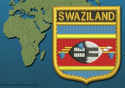 This Flag of Swaziland Shield with a Gold border design was digitized and embroidered by www.embroidery.design.
