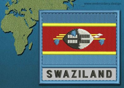 This Flag of Swaziland Text with a Colour Coded border design was digitized and embroidered by www.embroidery.design.