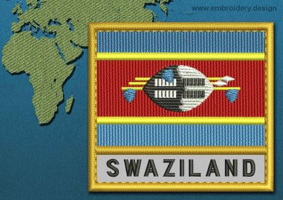This Flag of Swaziland Text with a Gold border design was digitized and embroidered by www.embroidery.design.