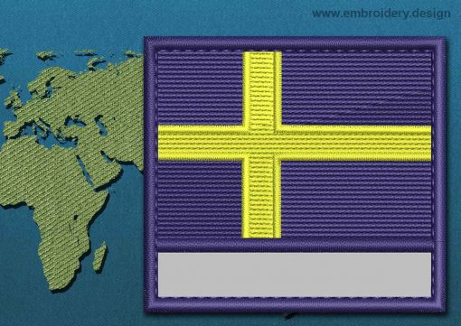 This Flag of Sweden Customizable Text  with a Colour Coded border design was digitized and embroidered by www.embroidery.design.