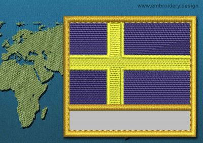 This Flag of Sweden Customizable Text  with a Gold border design was digitized and embroidered by www.embroidery.design.
