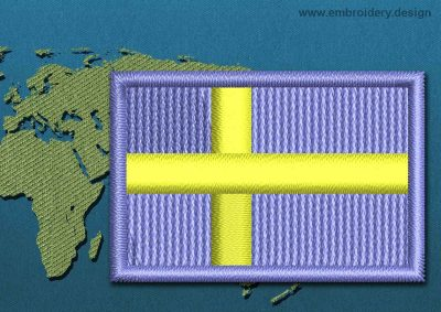 This Flag of Sweden Mini with a Colour Coded border design was digitized and embroidered by www.embroidery.design.