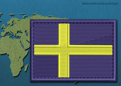 This Flag of Sweden Rectangle with a Colour Coded border design was digitized and embroidered by www.embroidery.design.