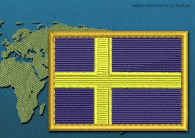 This Flag of Sweden Rectangle with a Gold border design was digitized and embroidered by www.embroidery.design.
