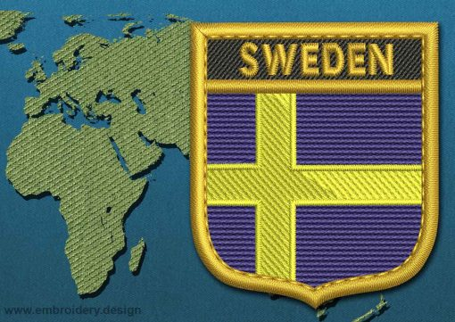 This Flag of Sweden Shield with a Gold border design was digitized and embroidered by www.embroidery.design.