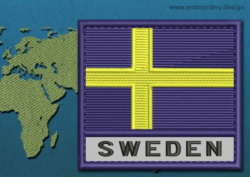 This Flag of Sweden Text with a Colour Coded border design was digitized and embroidered by www.embroidery.design.