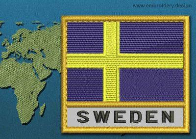 This Flag of Sweden Text with a Gold border design was digitized and embroidered by www.embroidery.design.