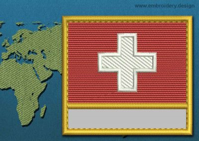 This Flag of Switzerland Customizable Text  with a Gold border design was digitized and embroidered by www.embroidery.design.