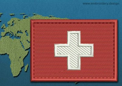 This Flag of Switzerland Rectangle with a Colour Coded border design was digitized and embroidered by www.embroidery.design.