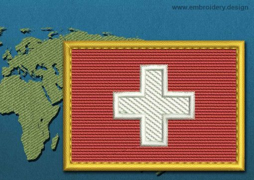 This Flag of Switzerland Rectangle with a Gold border design was digitized and embroidered by www.embroidery.design.