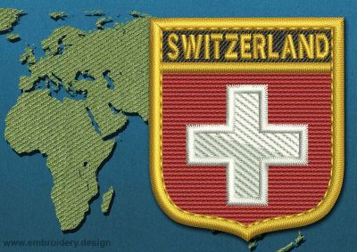 This Flag of Switzerland Shield with a Gold border design was digitized and embroidered by www.embroidery.design.