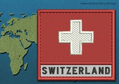 This Flag of Switzerland Text with a Colour Coded border design was digitized and embroidered by www.embroidery.design.