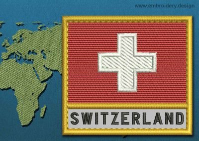 This Flag of Switzerland Text with a Gold border design was digitized and embroidered by www.embroidery.design.