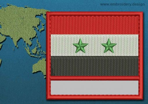This Flag of Syria Customizable Text  with a Colour Coded border design was digitized and embroidered by www.embroidery.design.