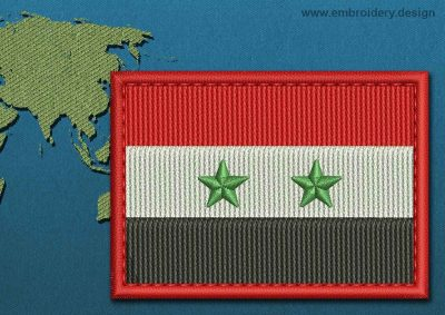 This Flag of Syria Rectangle with a Colour Coded border design was digitized and embroidered by www.embroidery.design.