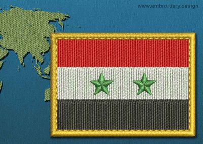 This Flag of Syria Rectangle with a Gold border design was digitized and embroidered by www.embroidery.design.