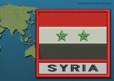 This Flag of Syria Text with a Colour Coded border design was digitized and embroidered by www.embroidery.design.