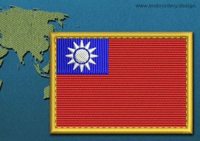 This Flag of Taiwan Rectangle with a Gold border design was digitized and embroidered by www.embroidery.design.