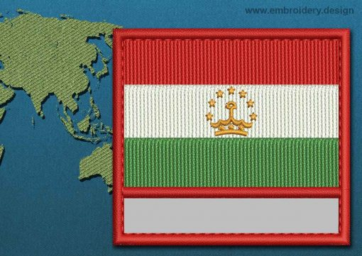 This Flag of Tajikistan Customizable Text  with a Colour Coded border design was digitized and embroidered by www.embroidery.design.