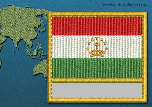 This Flag of Tajikistan Customizable Text  with a Gold border design was digitized and embroidered by www.embroidery.design.
