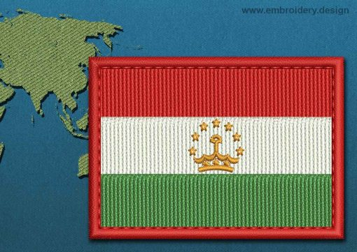 This Flag of Tajikistan Rectangle with a Colour Coded border design was digitized and embroidered by www.embroidery.design.