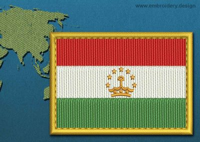 This Flag of Tajikistan Rectangle with a Gold border design was digitized and embroidered by www.embroidery.design.