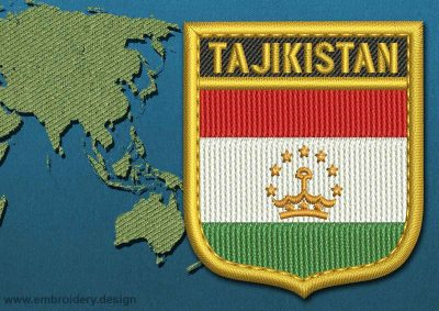 This Flag of Tajikistan Shield with a Gold border design was digitized and embroidered by www.embroidery.design.
