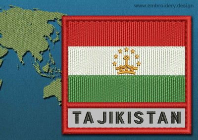 This Flag of Tajikistan Text with a Colour Coded border design was digitized and embroidered by www.embroidery.design.