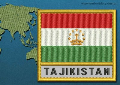 This Flag of Tajikistan Text with a Gold border design was digitized and embroidered by www.embroidery.design.