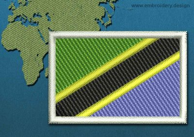 This Flag of Tanzania Mini with a Colour Coded border design was digitized and embroidered by www.embroidery.design.
