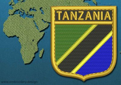 This Flag of Tanzania Shield with a Gold border design was digitized and embroidered by www.embroidery.design.