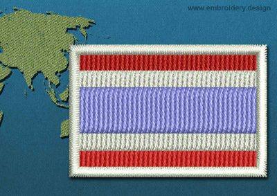 This Flag of Thailand Mini with a Colour Coded border design was digitized and embroidered by www.embroidery.design.