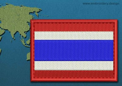 This Flag of Thailand Rectangle with a Colour Coded border design was digitized and embroidered by www.embroidery.design.