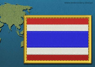This Flag of Thailand Rectangle with a Gold border design was digitized and embroidered by www.embroidery.design.