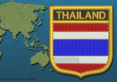 This Flag of Thailand Shield with a Gold border design was digitized and embroidered by www.embroidery.design.