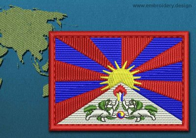 This Flag of Tibet Rectangle with a Colour Coded border design was digitized and embroidered by www.embroidery.design.