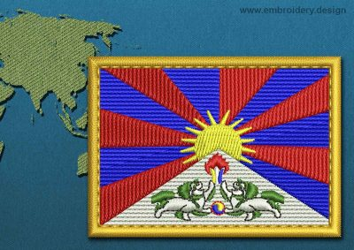 This Flag of Tibet Rectangle with a Gold border design was digitized and embroidered by www.embroidery.design.