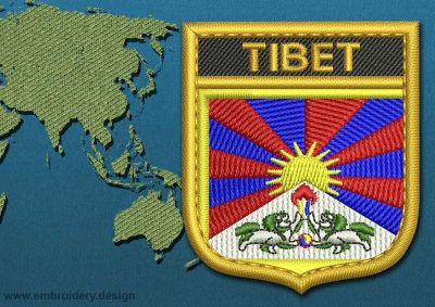This Flag of Tibet Shield with a Gold border design was digitized and embroidered by www.embroidery.design.