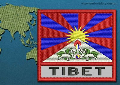 This Flag of Tibet Text with a Colour Coded border design was digitized and embroidered by www.embroidery.design.