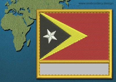 This Flag of Timor-Leste Customizable Text  with a Gold border design was digitized and embroidered by www.embroidery.design.