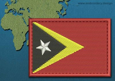 This Flag of Timor-Leste Rectangle with a Colour Coded border design was digitized and embroidered by www.embroidery.design.