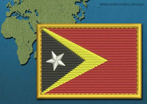 This Flag of Timor-Leste Rectangle with a Gold border design was digitized and embroidered by www.embroidery.design.