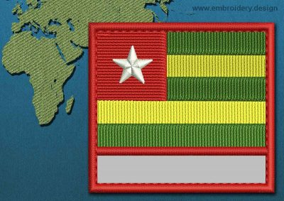 This Flag of Togo Customizable Text  with a Colour Coded border design was digitized and embroidered by www.embroidery.design.