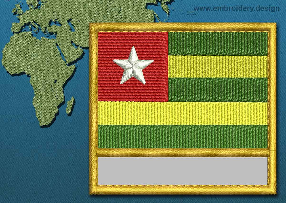 Togo Customizable Text Flag Embroidery Design With A Gold Border
