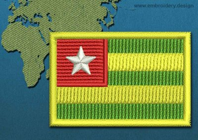 This Flag of Togo Mini with a Colour Coded border design was digitized and embroidered by www.embroidery.design.