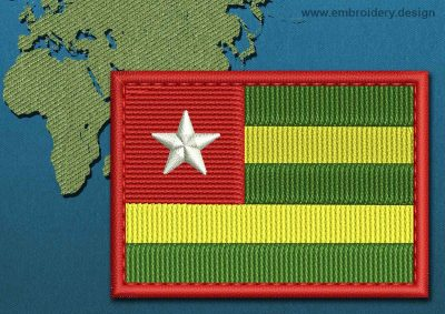 This Flag of Togo Rectangle with a Colour Coded border design was digitized and embroidered by www.embroidery.design.