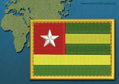 This Flag of Togo Rectangle with a Gold border design was digitized and embroidered by www.embroidery.design.
